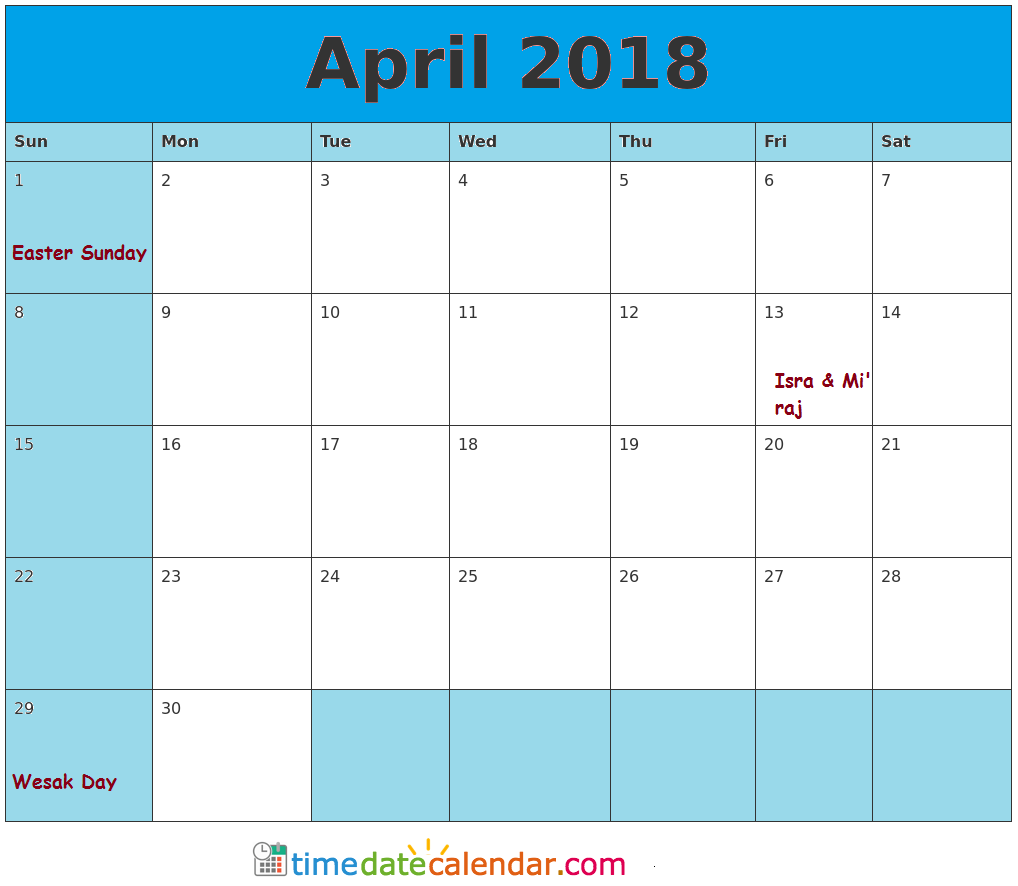 2018 Calendar April Printable Template