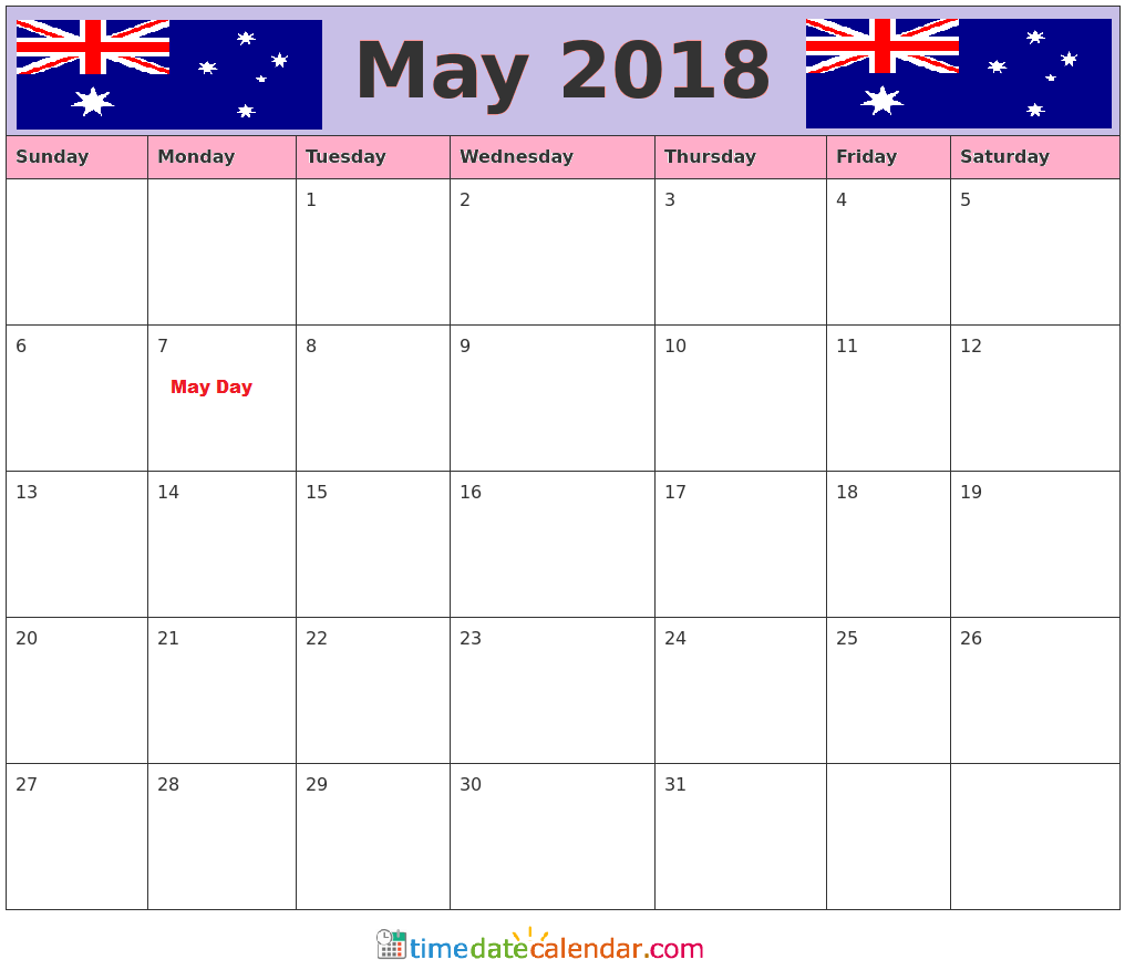Calendar Australia : May calendar printable template with holidays