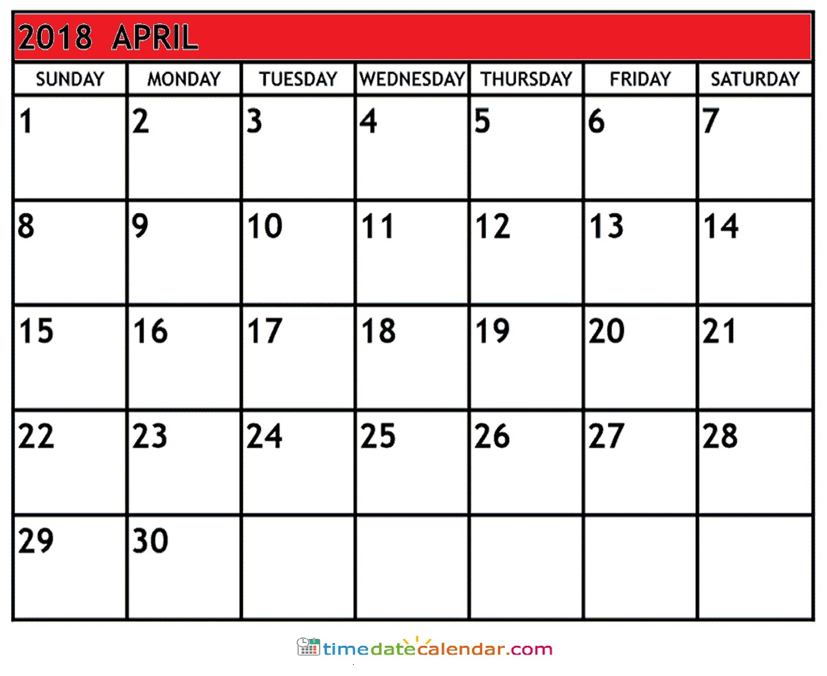 April 2018 Holidays