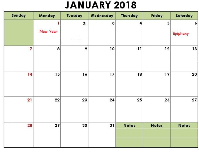 January Calendar 2018 : January calendar printable templates