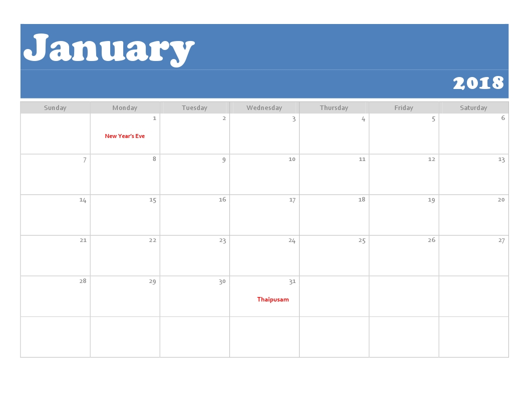 January Calendar 2018 Malaysia - Free Printable Calendar Templates