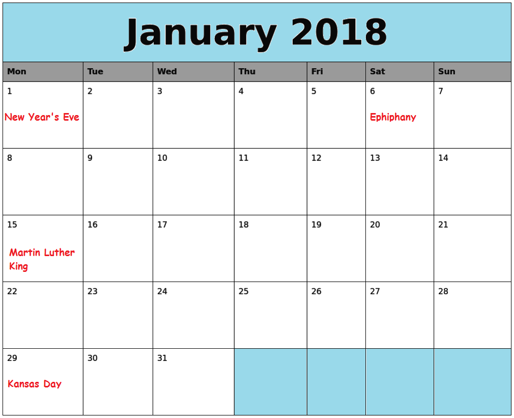 picture regarding Free Printable Calendar With Us Holidays referred to as January US Vacations 2018 Calendar - Totally free Printable Calendar