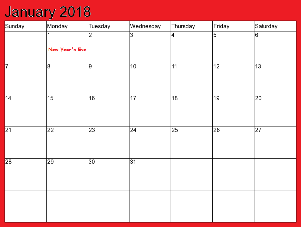 2018 January Calendar Printable Template