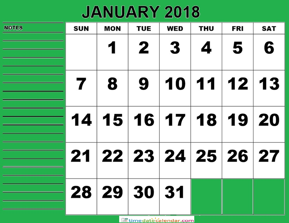 January Sri Lanka Calendar 2018 - Free Printable Template
