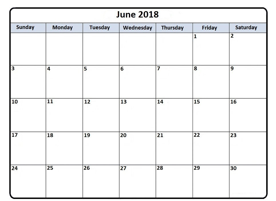 June Calendar 2018 Philippines - Printable Template Download