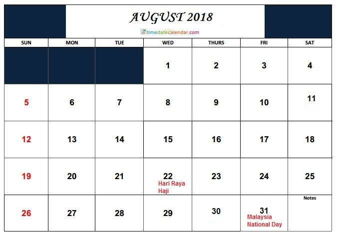Malaysia 2018 Holidays August