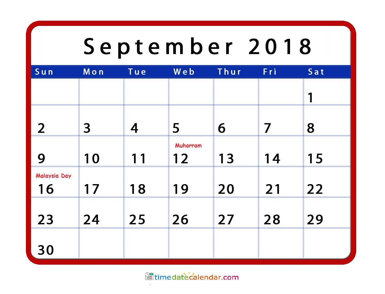 calendar 2018 with holidays printable