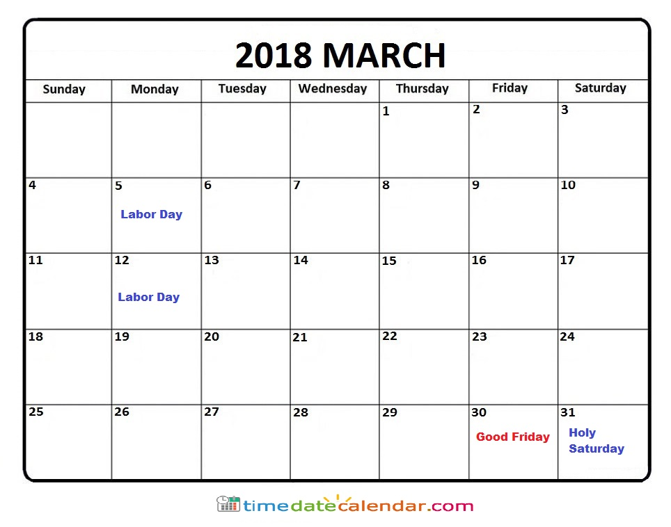 March 2018 Calendar Australia Printable Template