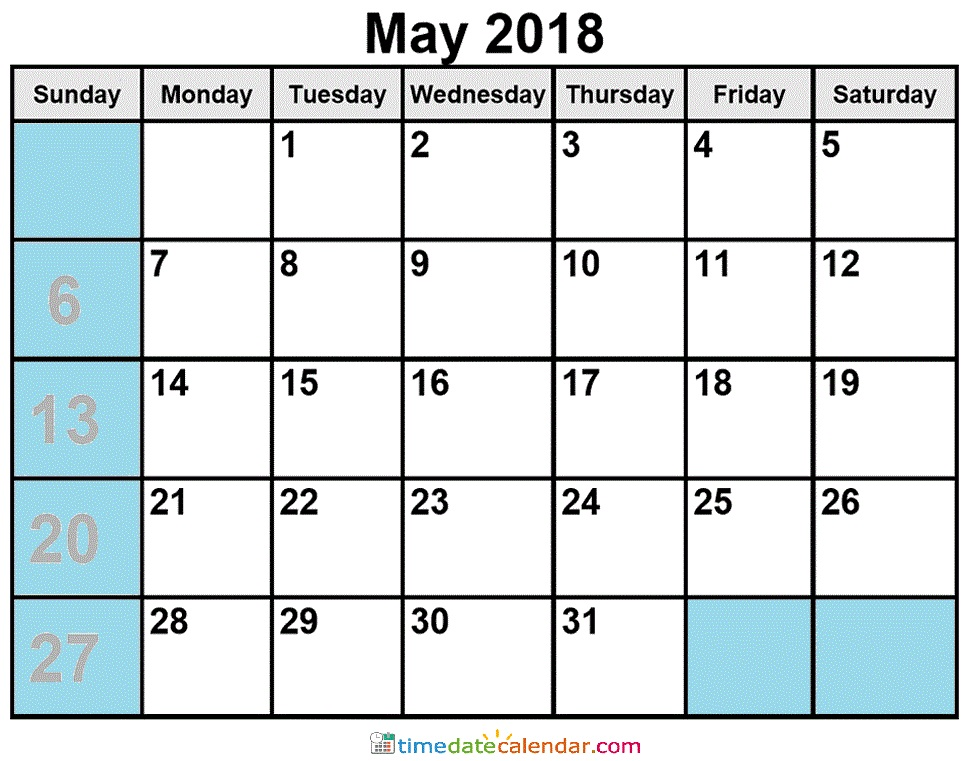 May 2018 Calendar South Africa Printable Template