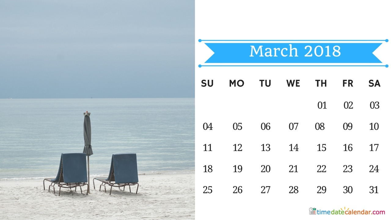 March 2018 Calendar Templates Free Download