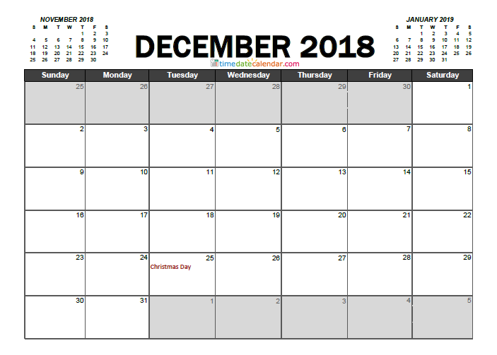 PDF December 2018 Calendar Singapore Doc Templates with Holidays Word Excel To Print Editable