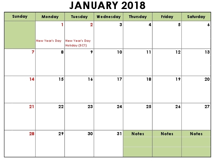 January 2018 UK holidays