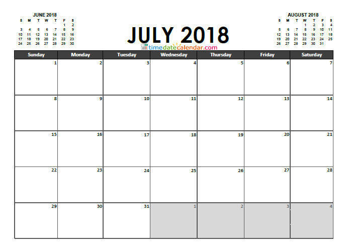 july 2018 to june 2018 calendar