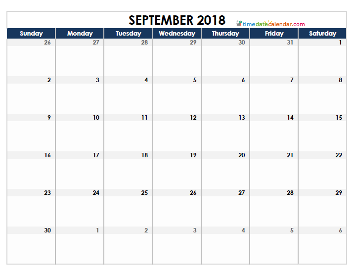 September Calendar 2018 Malaysia Printable Templates