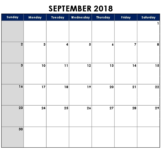 September Calendar 2018 Philippines