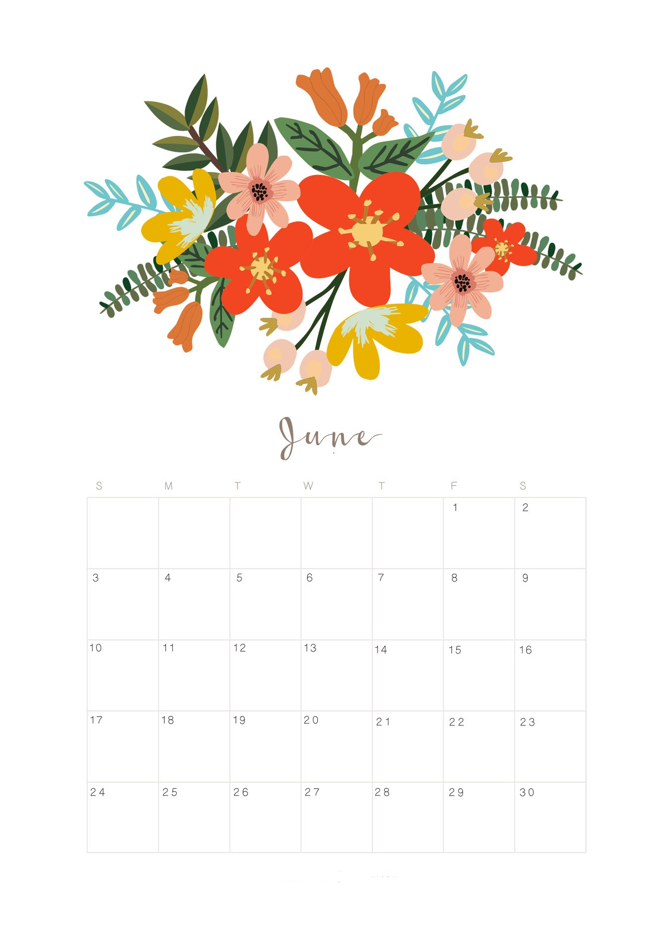 June Chinese Calendar 2018 - Free Printable Templates