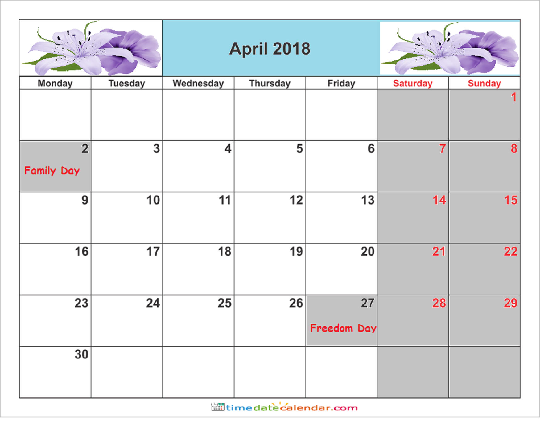april 2018 calendar south africa free printable template