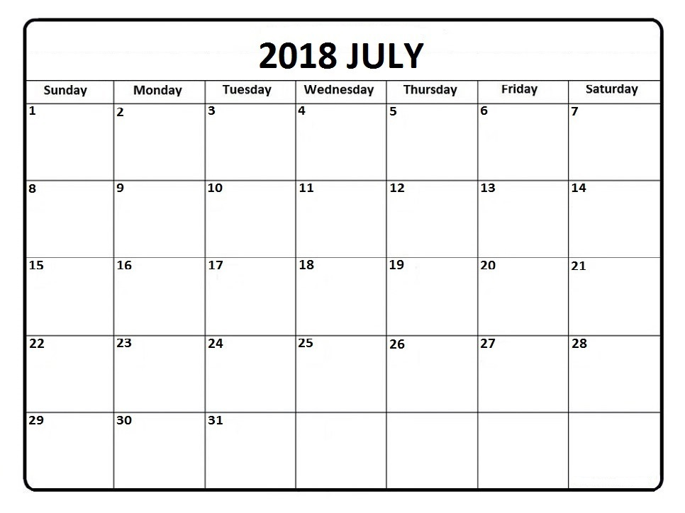 July Calendar 2018 Philippines Printable Template