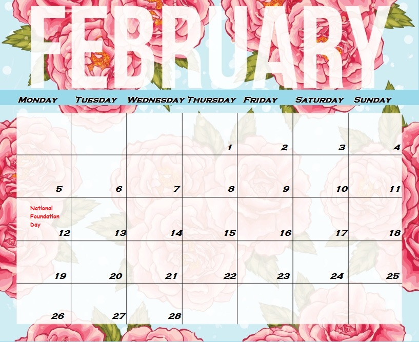 Calendar Wallpaper With Notes : Japanese calendar february free printable template
