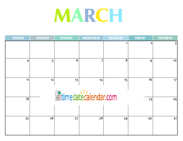 Japanese Calendar 2018 March Printable Template