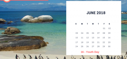 June 2018 Calendar South Africa Printable Template