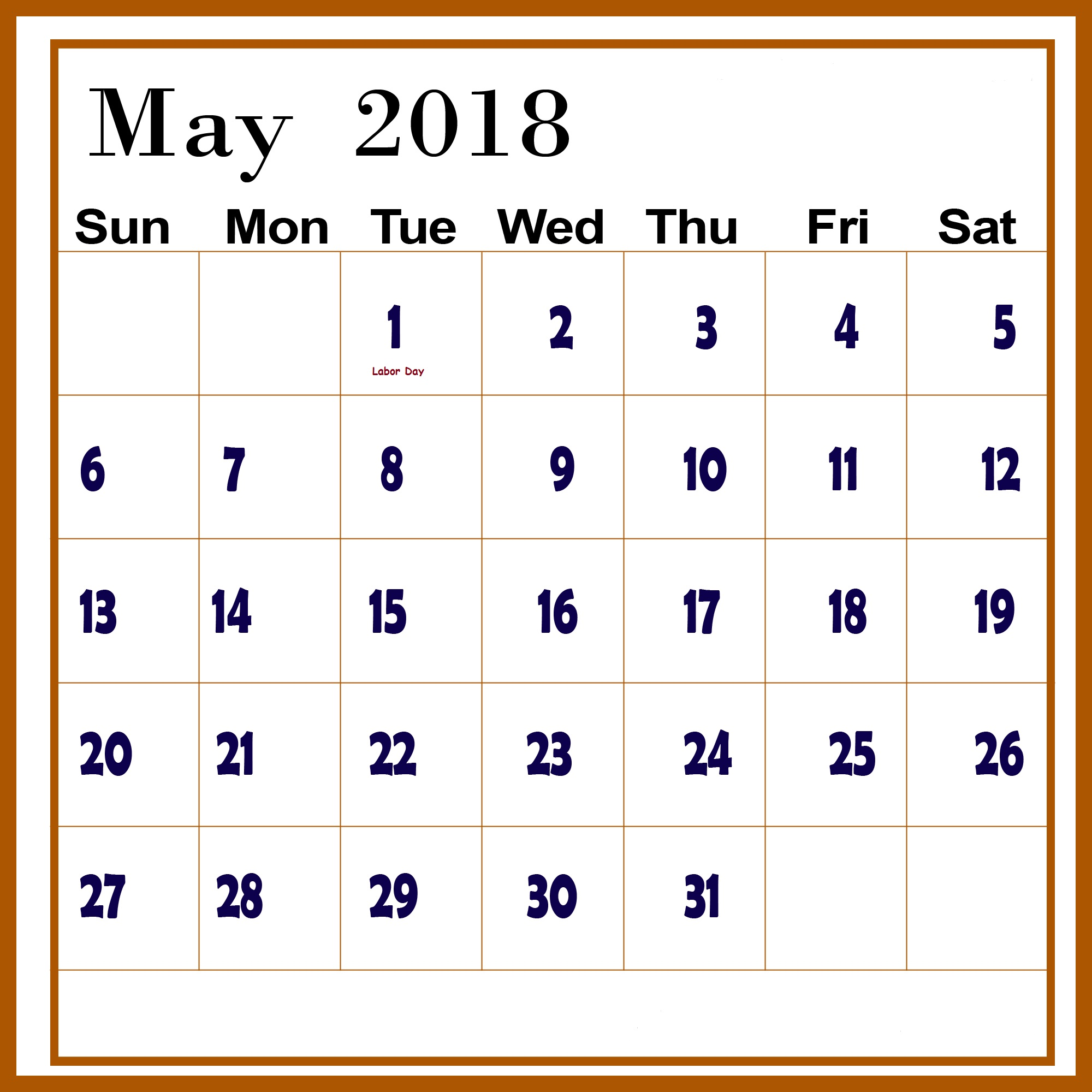May Chinese Calendar 2018 Printable Template