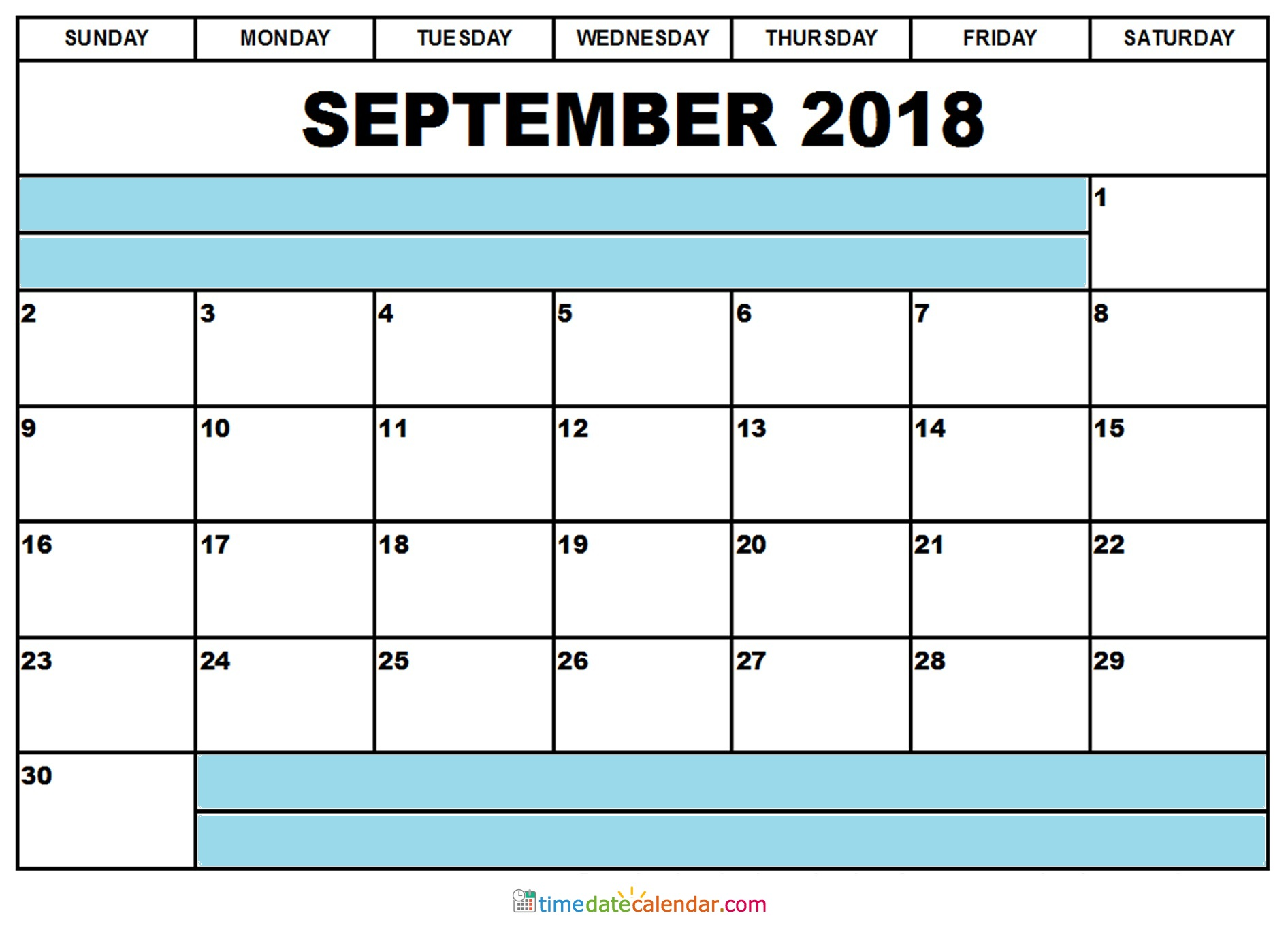 2018 September Philippines Calendar Template