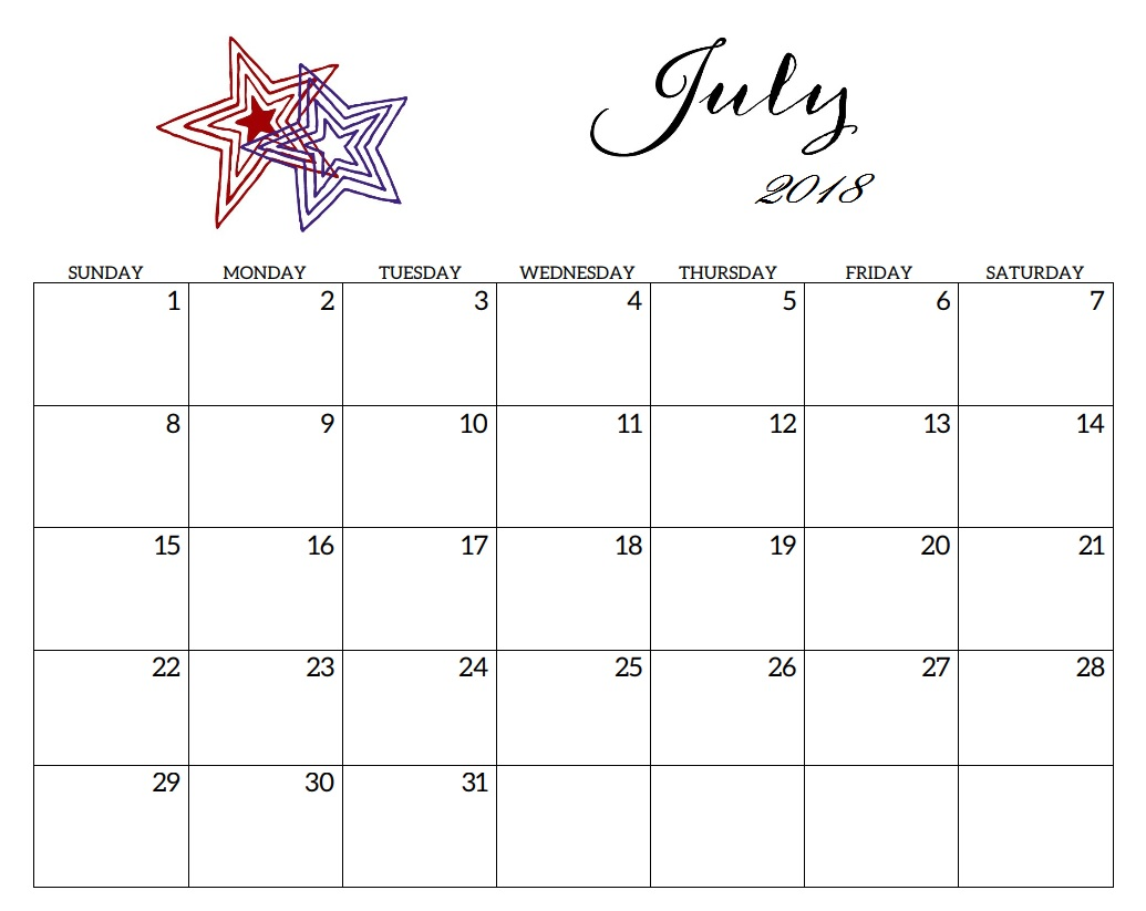July 2018 Calendar South Africa - Printable Templates
