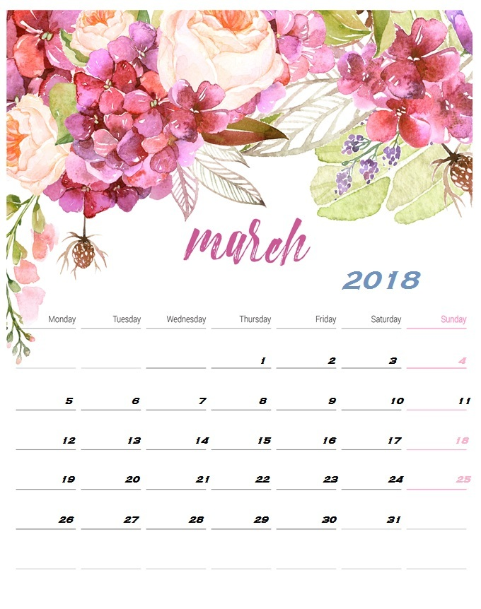 Calendar 2018 Switzerland March