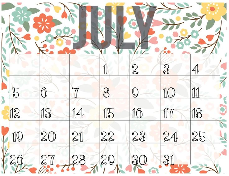July 2018 Calendar South Africa Printable Template