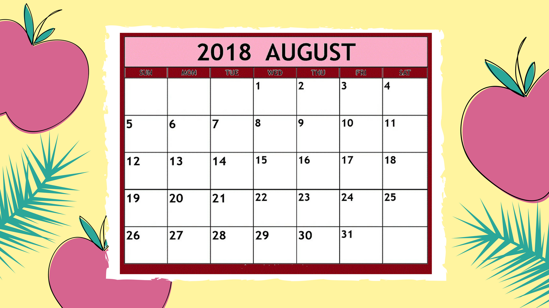 Image result for august 2018 calendar free clipart
