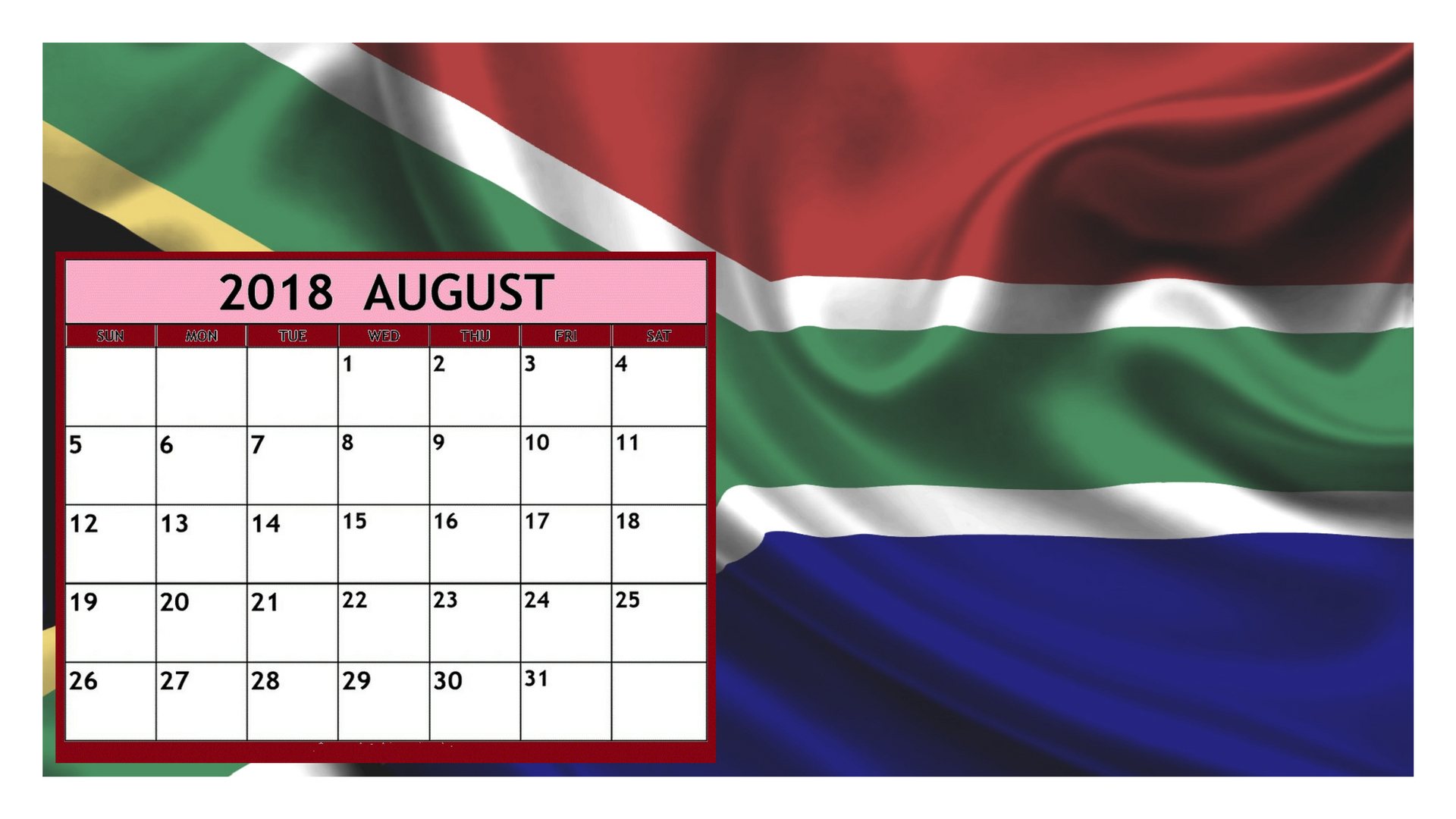 Calendar South Africa : August calendar south africa free printable templates