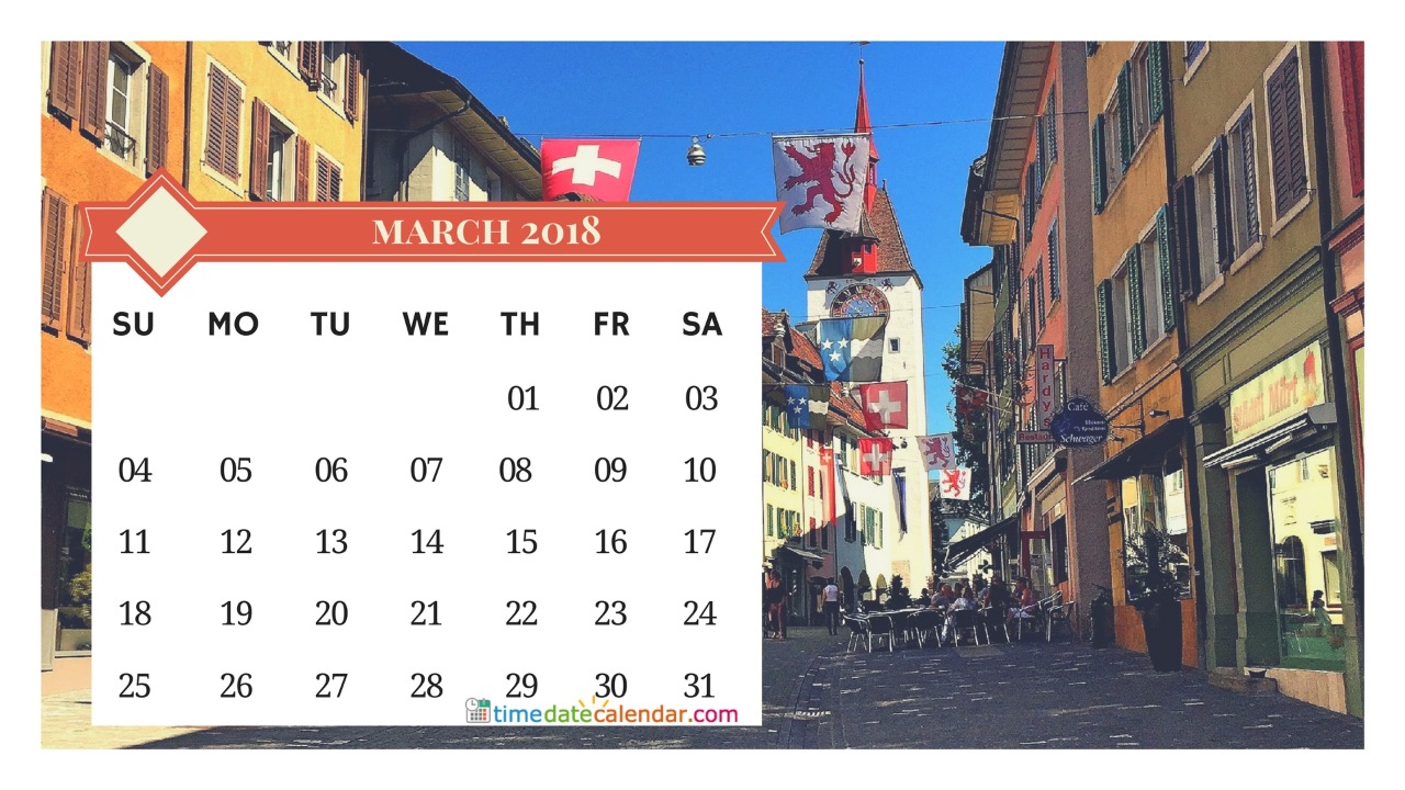 Switzerland Calendar 2018 March