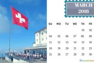 March Calendar 2018 Switzerland Printable Templates