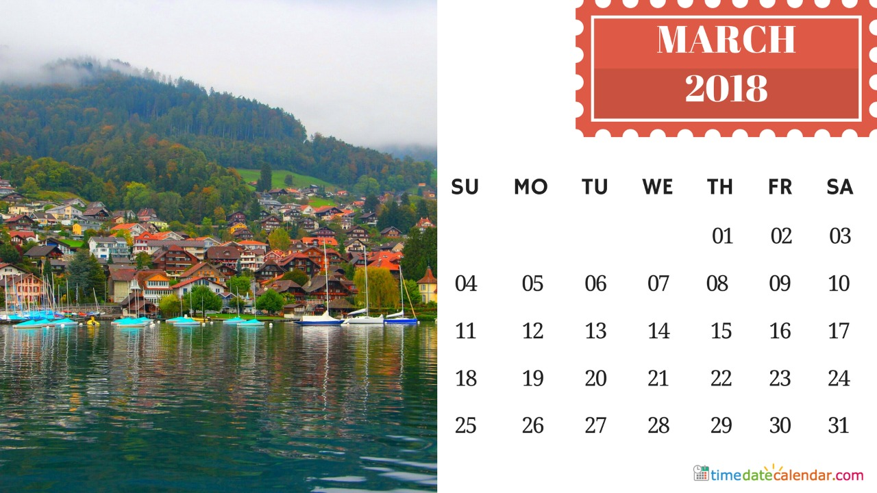 March Switzerland Holidays 2018 Calendar
