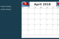 April 2018 Switzerland Calendar Templates