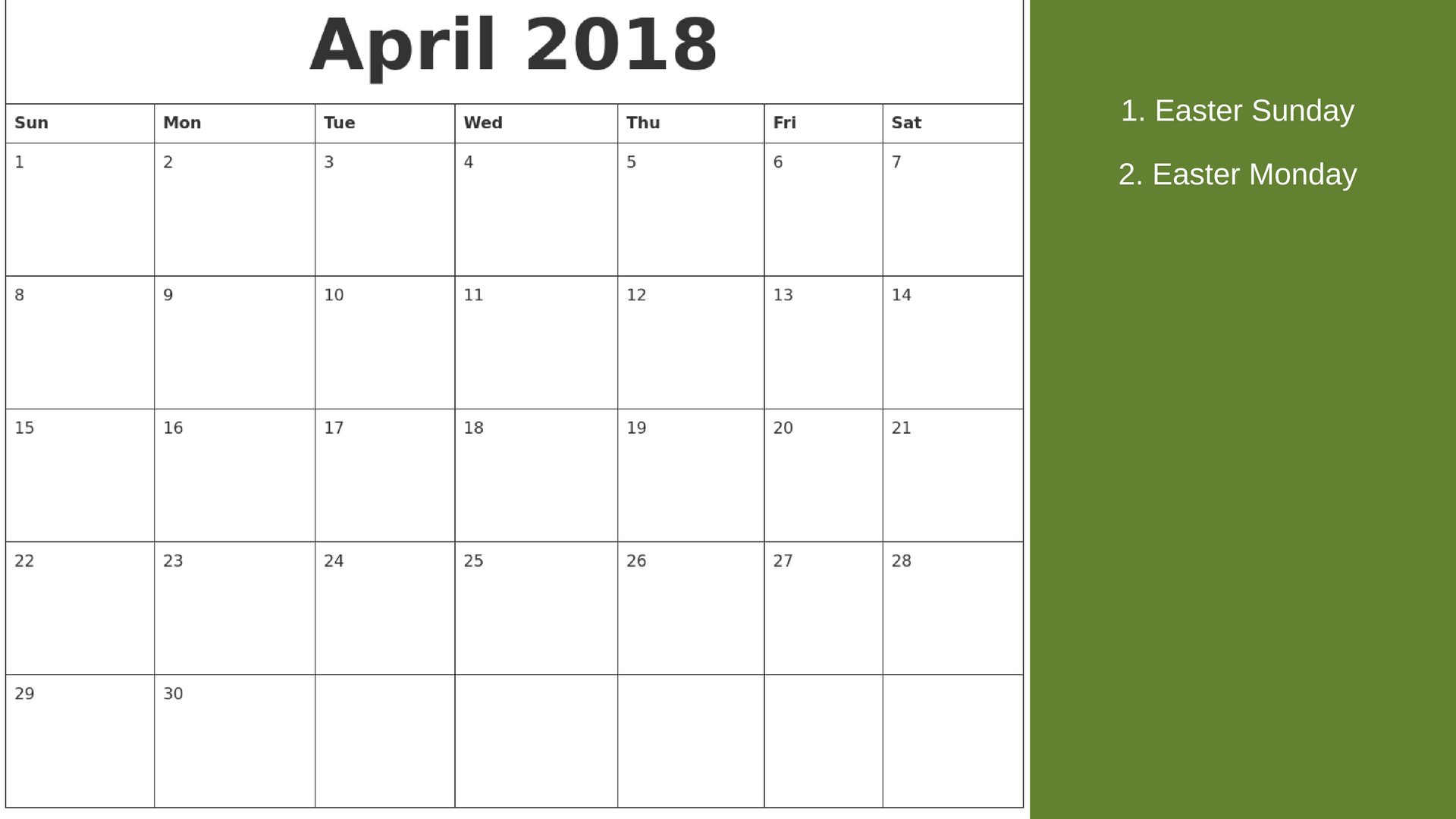 April Calendar 2018 Switzerland