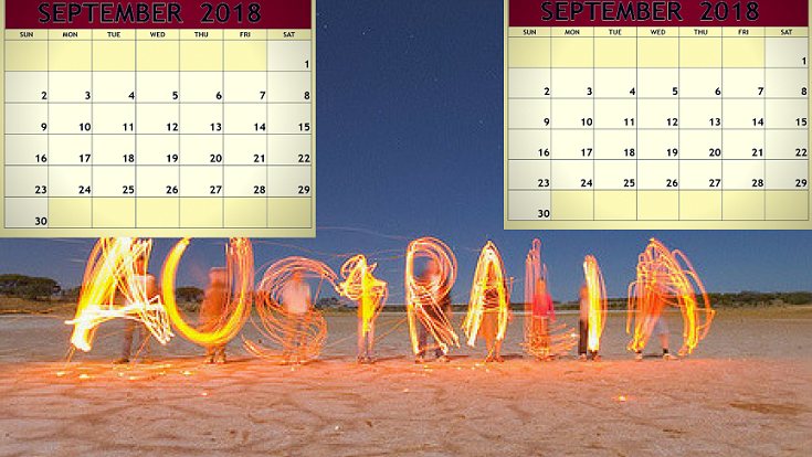 September 2018 Calendar Australia Printable Template