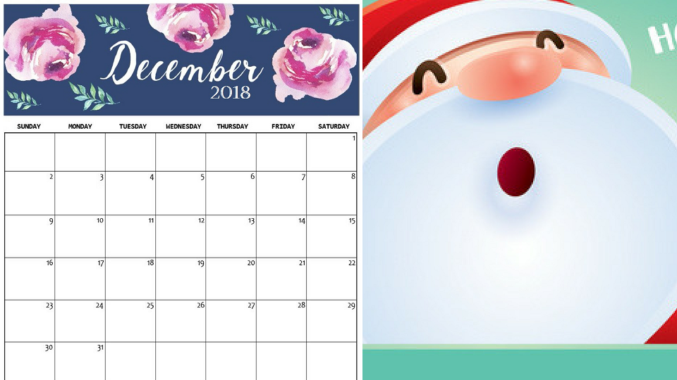 December 2018 Calendar Printable Templates With Holidays