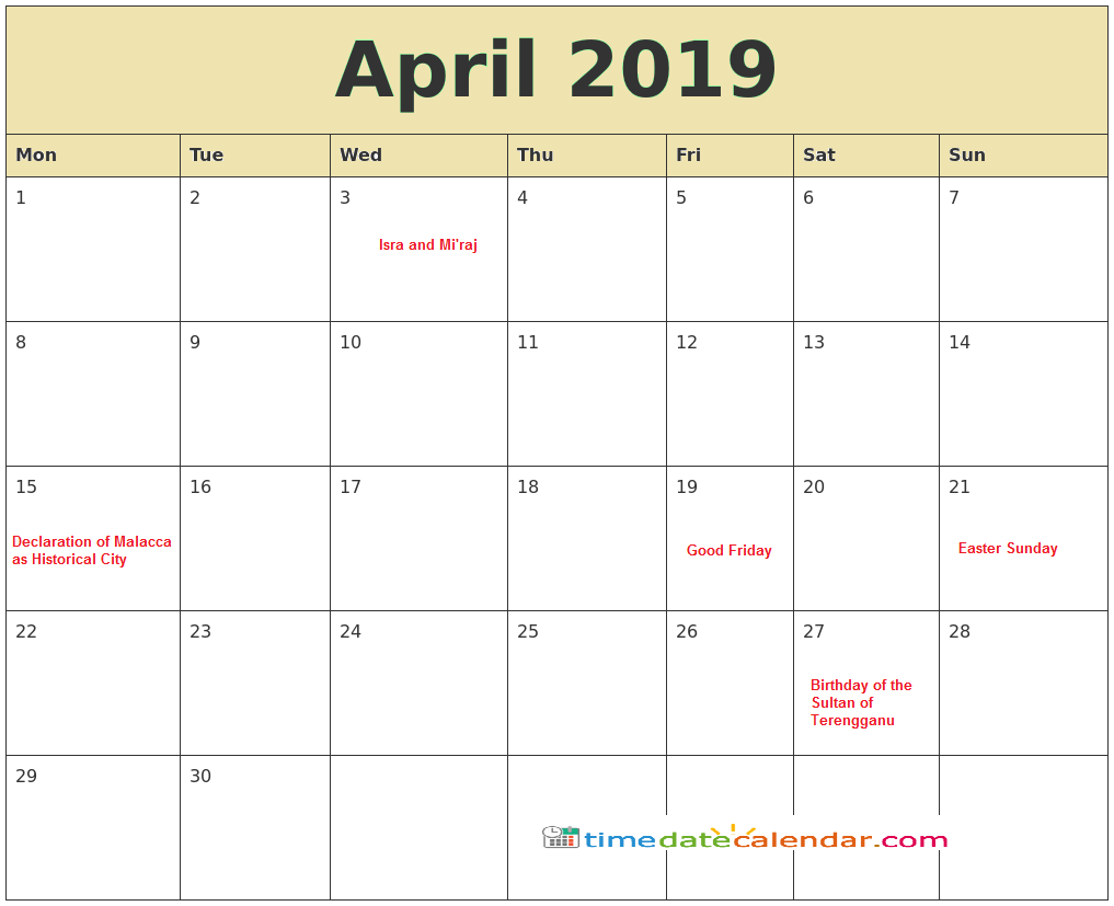 image about Free Printable April Calendar known as April Calendar 2019 Malaysia - Totally free Printable Templates