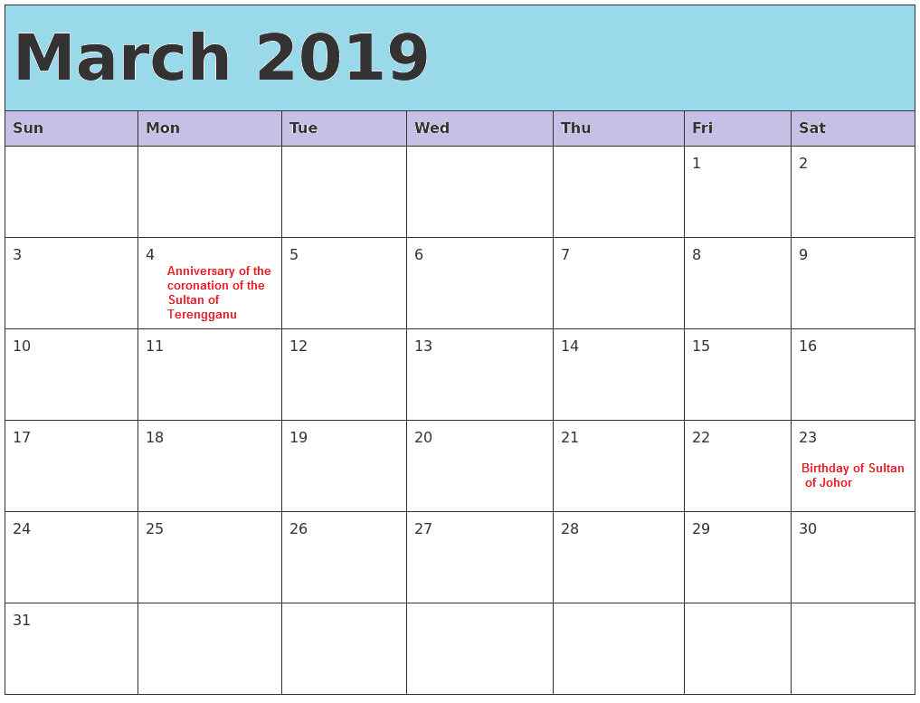 March Calendar 2019 Malaysia Printable Templates