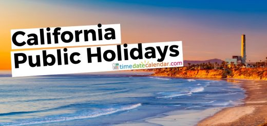 California Public & National Holidays